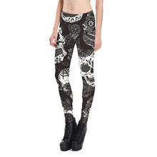 New 2017 Women Deep Grey Rose Skull Print Fitness Leggings Elastic Fiber Hiphop Party Cheerleader Rooter Workout Pants Trousers