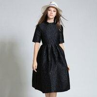 Black Dresses Women O Neck High Waist Jacquard Dress Feminine Short Sleeve Floral Red Female Robe