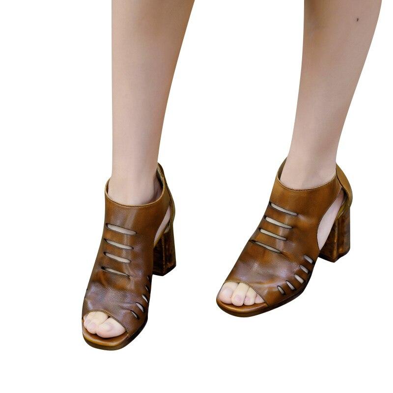 Sandales Cuir En Vintage Mode D'été Spartiates Camel Xiangban Talons Femmes 1725k5 2019 Bottes Hauts wxqIcpfA
