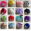1Piece Sell Crystal Brooch Wedding Bouquet Decor Boutonniere Artificial Rose Groom Corsage Brooch Flower Pin 30Color Chooable