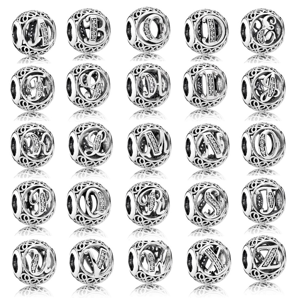 A-R Openwork Alphabet 26 Letter With Crystal Beads Fit Pandora Bracelet Bangle 925 Sterling Silver Bead Charm DIY Jewelry