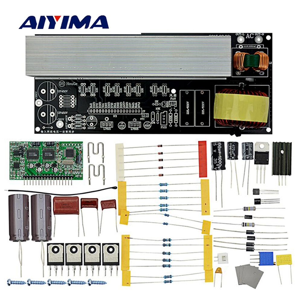 Aiyima 2000W Modified Sine Wave to Pure Sine Wave Inverter Inverter Board Diy Kits with Heat Sinks DC380V/AC16V to AC220V