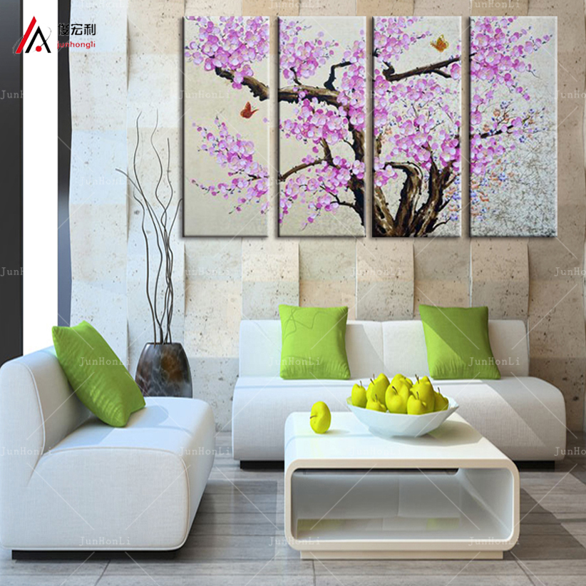 living room flower decorations plum tree canvas modern wall painting purple pink blue 14449