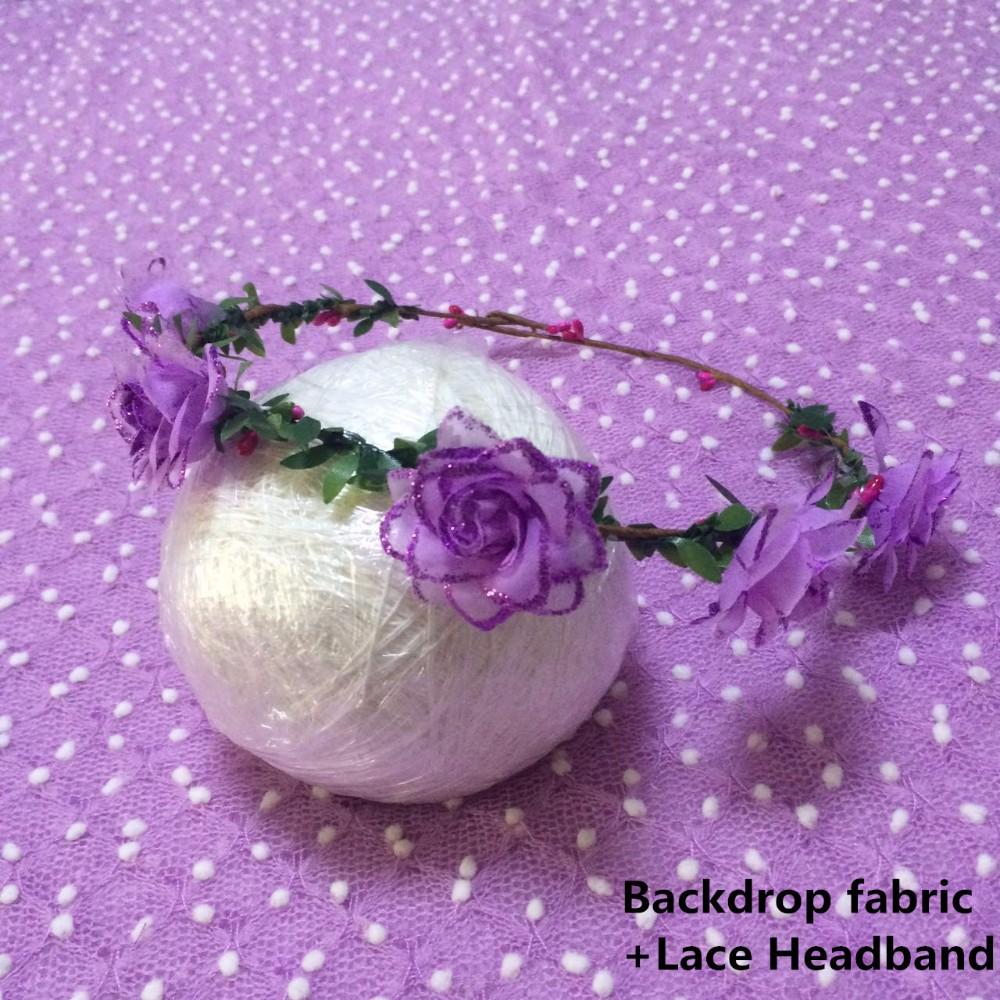 Backdrop fabric+lace headband