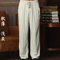 New Arrival Chinese Men's Kung Fu Trousers Cotton Linen Kung Fu Pant Tai Chi Pants Wu Shu Pants Size M L XL XXL XXXL W37