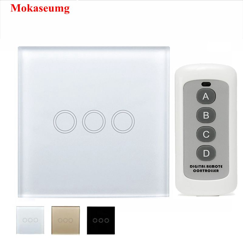 EU/UK 3 Gang 1 Way Remote Control Light Switch ,Crystal Glass Panel Touch Switch ,Touch Wall Light Switch For Smart Home RF 433 saful 12v remote wireless touch switch 1 gang 1 way crystal glass switch touch screen wall switch for smart home light