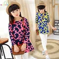 Baby Girls Spring Flower Printing Ethnic style Toddler Tee Long Sleeve T-shirts Spring Clothing Casual Slim Children Tops L281