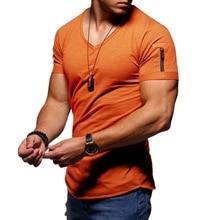 Zipper sleeve slim fit men t shirt men Fashion luxury brand design hip hop steetwear tops tee shirt homme t-shirt plus size 5XL t shirt men brand 2017 men s fashion heap collar design tops