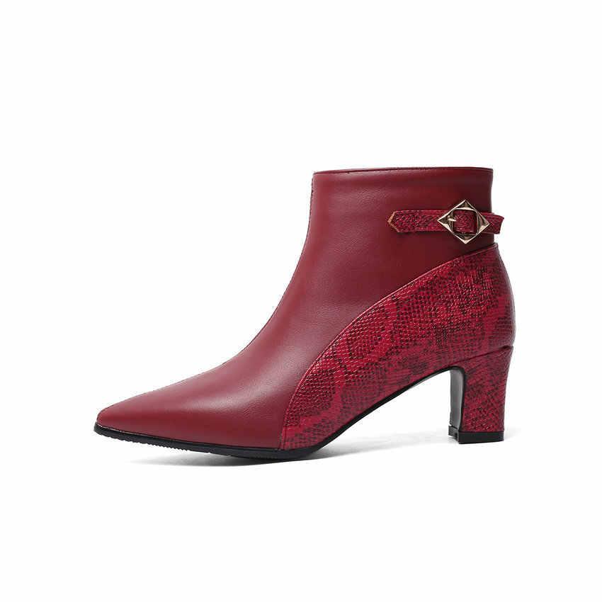QUTAA 2020 PU Deri Moda Yılan Derisi Toka Kış Kadın kısa çizmeler Sivri Burun Kalın Topuk Tüm Maç yarım çizmeler Boyutu 34- 43