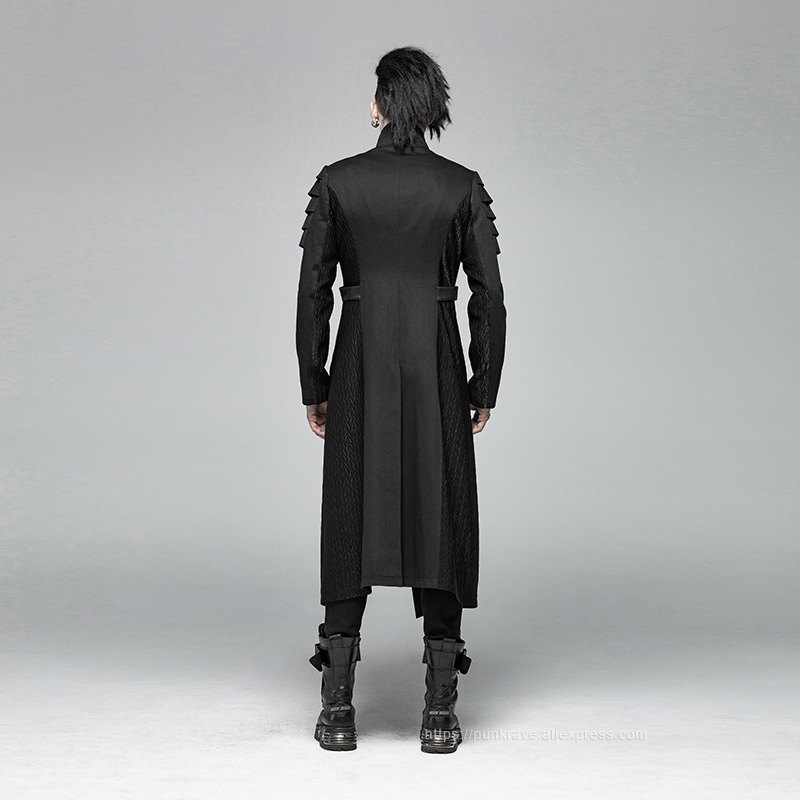 Image 3 - PUNK RAVE Gothic Men's Black Armor Mid length Jackets Coat Steampunk Military Men Coat Stage Performance Costumes Visual Kei-in Jackets from Men's Clothing