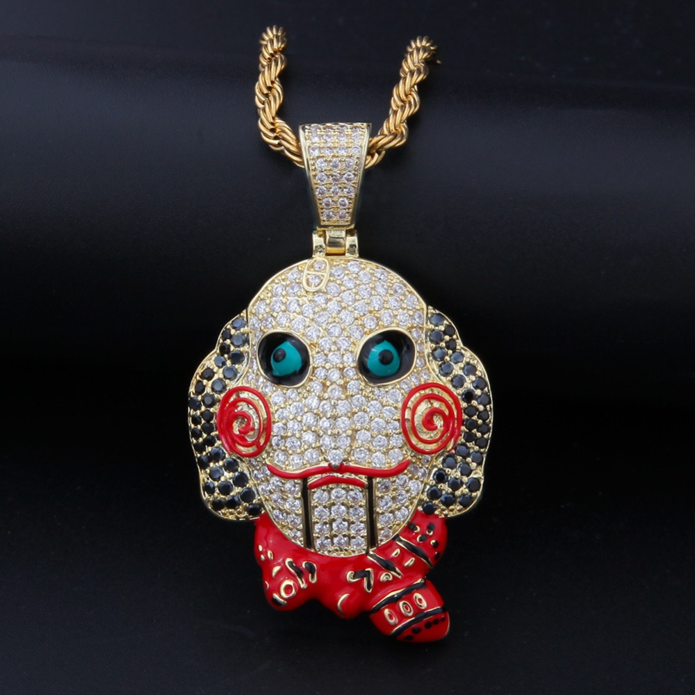 2018 Men Hip Hop 69 Saw Doll Head Mask Pendant Necklaces Pave Setting Zircon Fashion Luxury Necklace Charm Hiphop Jewelry Gifts Non-Ironing