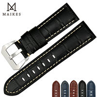 MAIKES New Genuine Leather Watch Band 22 24 26mm Calf Leather Strap Watchbands Black Men Watch