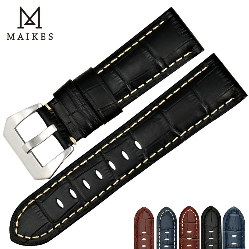 MAIKES New genuine leather watch band 22 24 26mm watchbands for Fossil watch strap watch accessories bracelet for Panerai maikes 18mm 20mm 22mm watch belt accessories watchbands black genuine leather band watch strap watches bracelet for longines