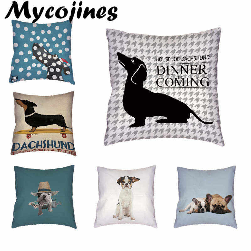 Dog Stylish Colorful Dog Corgi Bulldog White Cushion Cover Home Office Sofa Decoration Polyester Peach Skin  Pillow Cases