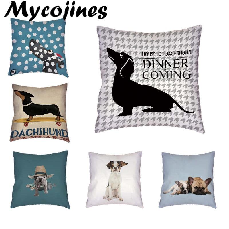 Throw Pillow Case Stylish Colorful Dog Corgi Bulldog Letter 45x45Cm - Textiles para el hogar
