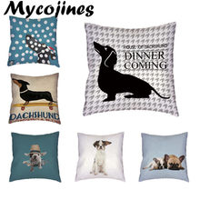 Dachshund Stylish Colorful Dog Corgi Bulldog White Cushion Cover Home Office Sofa Decoration Polyester Peach Skin Pillow Cases(China)