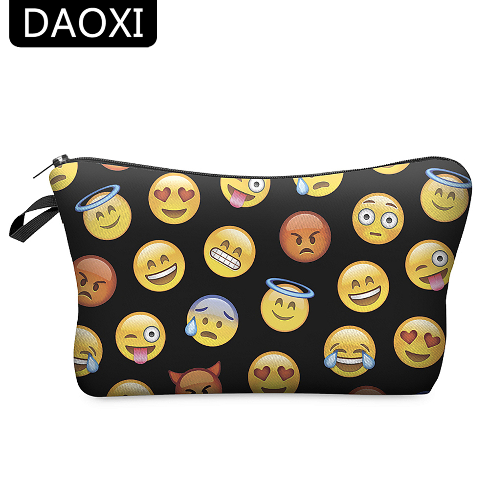 DAOXI Emoji Cosmetic Bags 3D Printed Polyester Black Women Organizer for Travel