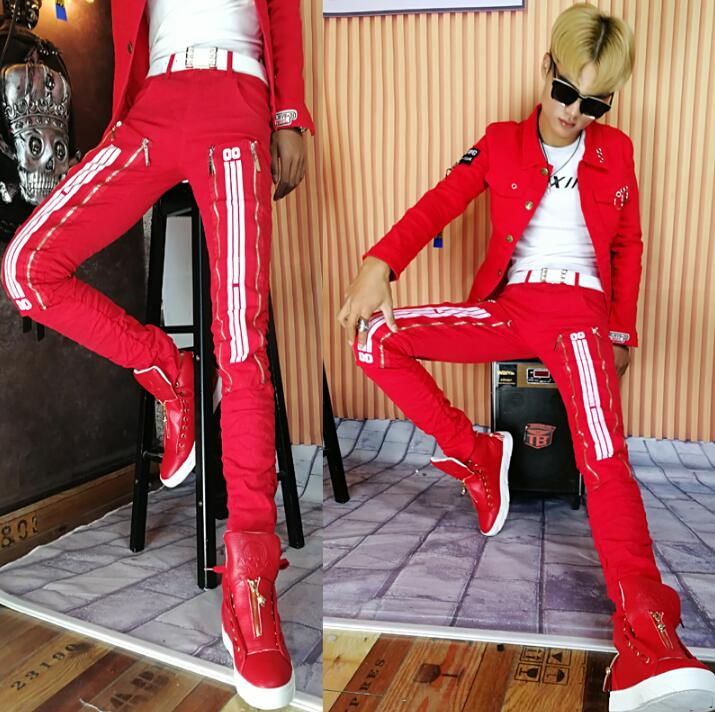 Autumn winter red personality fashion harem pants mens trousers pantalones hombre cargo  ...