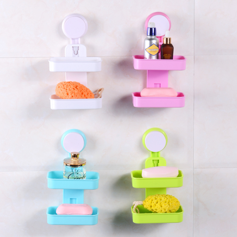 ICD60010 bathroom shelve toilet shelf soap rack powerful suction double Lishui soap box creative wall suction soap box