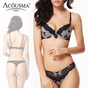 Image 3 - ACOUSMA ผู้หญิงเซ็กซี่ Bra และชุดกางเกงดอกไม้ Lace Bowknot 3/4 ถ้วย Push Up หญิงชุดชั้นในไม่มีรอยต่อ T กลับ thongs 8 สี