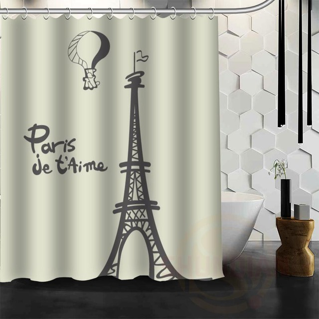 Best Nice Custom Eiffel Tower In Paris Shower Curtain Bath Waterproof Fabric For Bathroom MORE