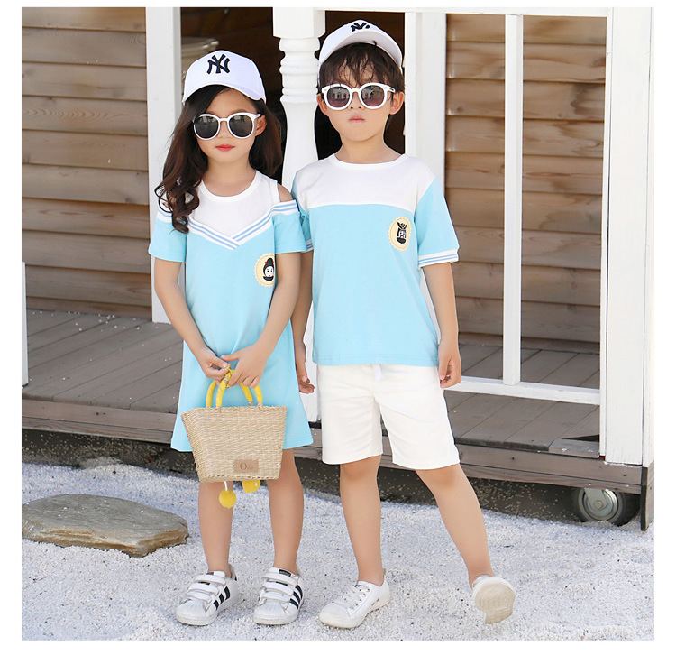 HTB1TE6rcoKF3KVjSZFEq6xExFXaE - Summer Clothes Family Matching Outfits Dad Son Short Sleeve T-Shirt Mother Daughter Dresses Cute Blue White Dress Clothing