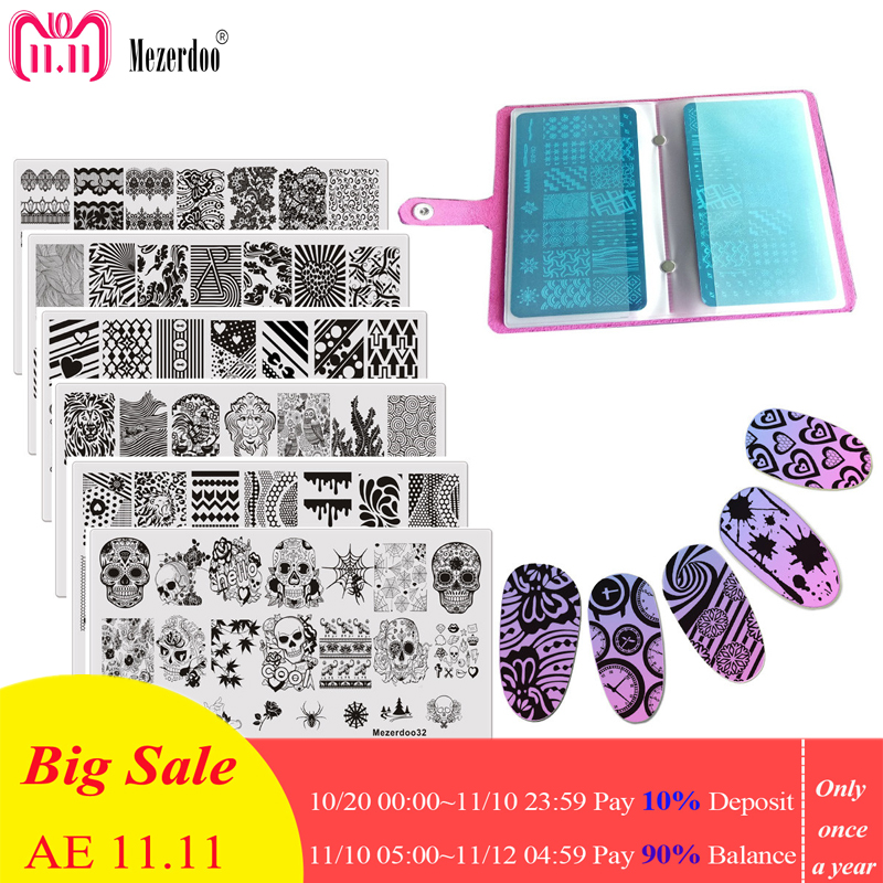 11pc/set Lace Flowers Image Print Stencil Stamp Stamping Set 1 Nail Plate Case + 10 Steel Nail Art Templates DIY Decoration Tool купить в Москве 2019