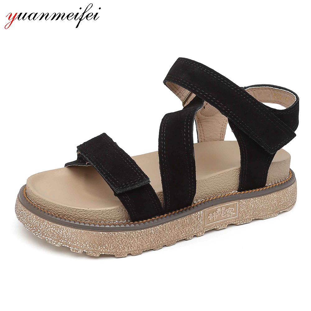 yuanmeifei Shoes Women's Sandals Genuine Leather Wedges Shoes Ladies Summer Platform Open Toe 2018 New Arrival Size 34-43 phyanic 2017 gladiator sandals gold silver shoes woman summer platform wedges glitters creepers casual women shoes phy3323