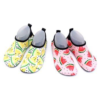 Maluch dzieci pływać buty do wody śliczne kolorowe arbuz nadruk z owocami szybkoschnąca antypoślizgowa podeszwa boso plaża basen wsuwane skarpetki wodne tanie i dobre opinie THINKTHENDO CN (pochodzenie) WOMEN Dobrze pasuje do rozmiaru wybierz swój normalny rozmiar Spring2019 Początkujący Szybkie suszenie