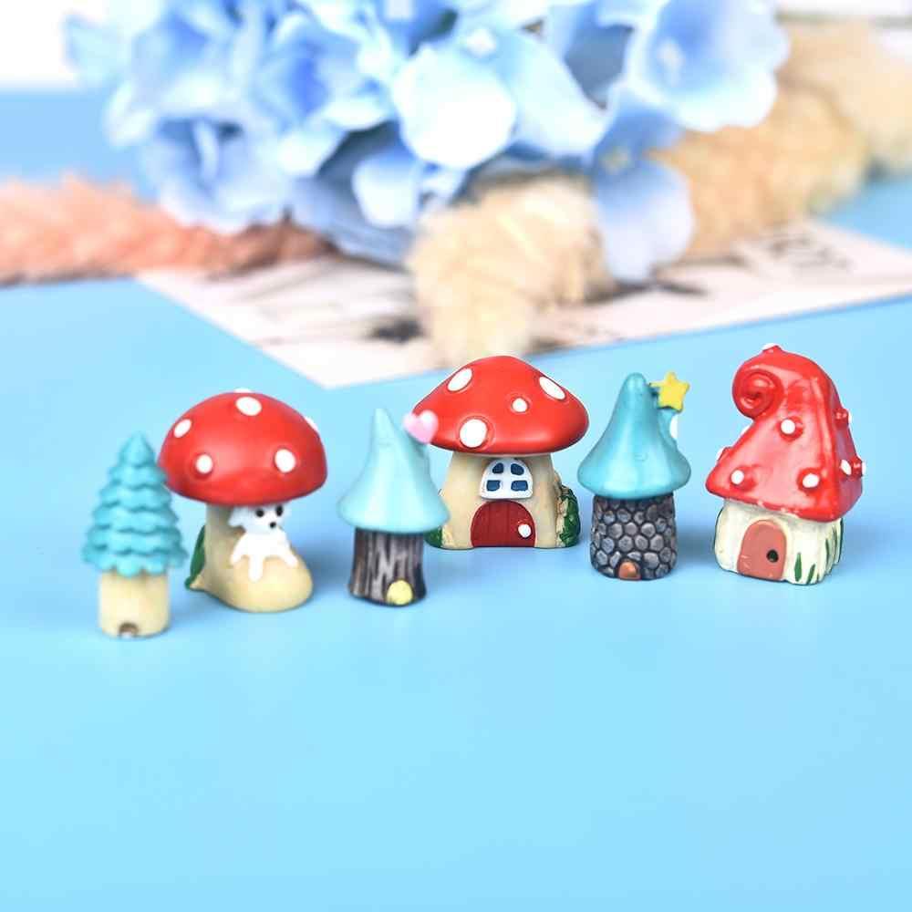 3 Pcs/set Lucu Kartun Merah Rumah Jamur 3 Jenis Diy Resin Fairy Taman Kerajinan Dekorasi Miniatur Micro GNOME Terrarium GIF