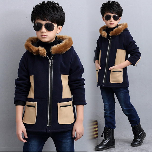 The New 2016 British Children's Coat Boys A Hooded Coat Wet Winter Children Children's Clothes