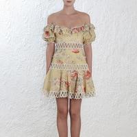 2018 Лето взлетно посадочной полосы дизайнер с открытыми плечами Бутик платье Женская Высокое качество короткий рукав цветочным Принто