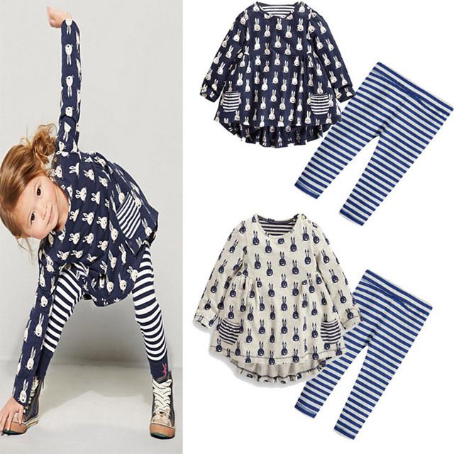 Primavera Outono Coelho Impressão t-shirt + leggings 2 pçs/set Crianças Agasalho de Algodão Casuais Esporte Terno Conjuntos de Roupas Meninas branco/azul