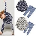 Spring Autumn Rabbit Print t -shirt + leggings 2pcs/set Kids Cotton Tracksuit Casual Sport Suit Girls Clothing Sets white/blue