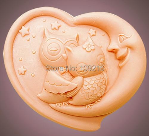 1pcs New Style Love Owl (zx1593) Săpun siliconic realizat manual Manufactura de mase plastice DIY Mold