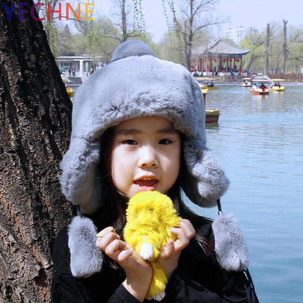 YECHNE/осенне зимняя детская шапка бомбер для мальчиков и девочек, шапка ушанка, шапка из меха кролика рекс