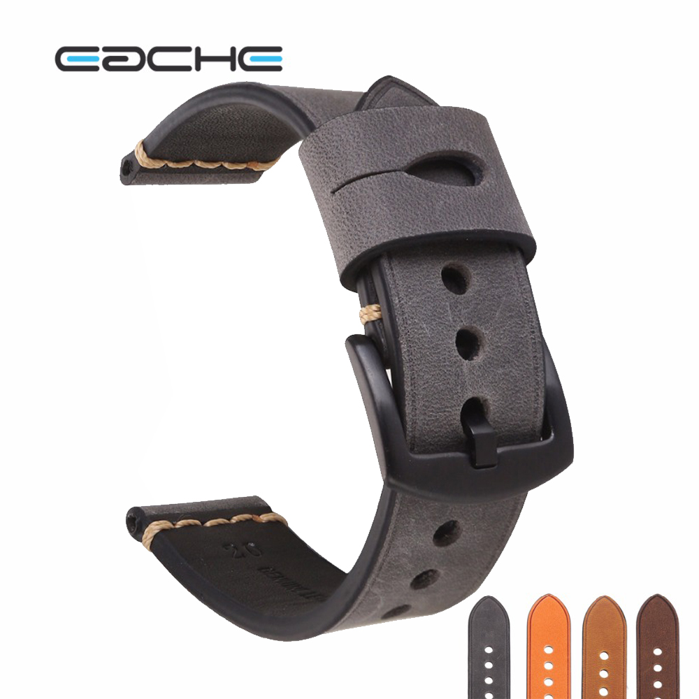 EACHE Handmade New Watch Band Genuine Leather Wristband Straps,Watch Band 20mm 22mm 24mm Silver&Black Buckle more color In Stock eache 20mm 22mm 24mm 26mm genuine leather watch band crazy horse leather strap for p watch hand made with black buckles