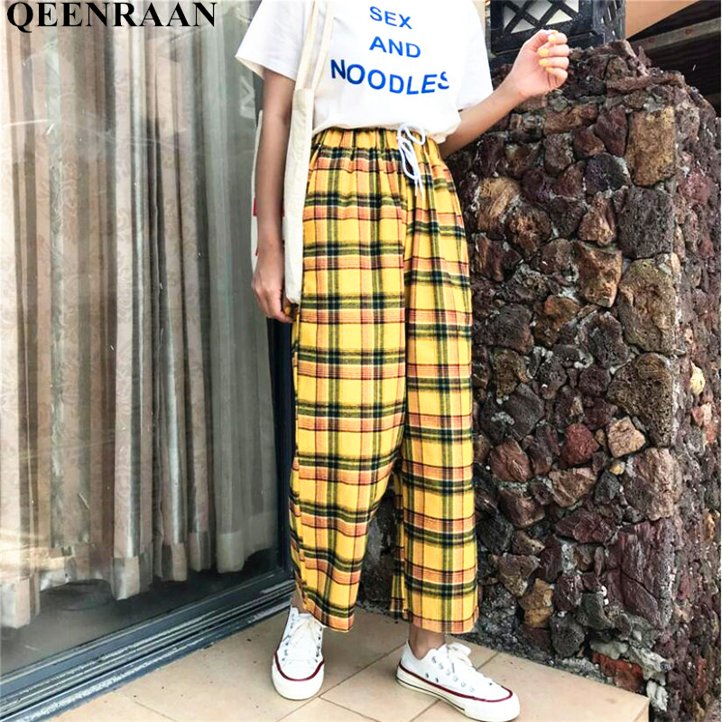 2019 Harajuku Womens Yellow Plaid   Pants   Summer Vintage Femme Casual Drawstring Ankle Length Loose   Wide     Leg     Pants
