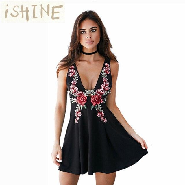 ISHINE Летом женская Мода Старинные Платья-Линии Глубокий V Шеи Ретро Вышивка Sexy Рукавов Dress