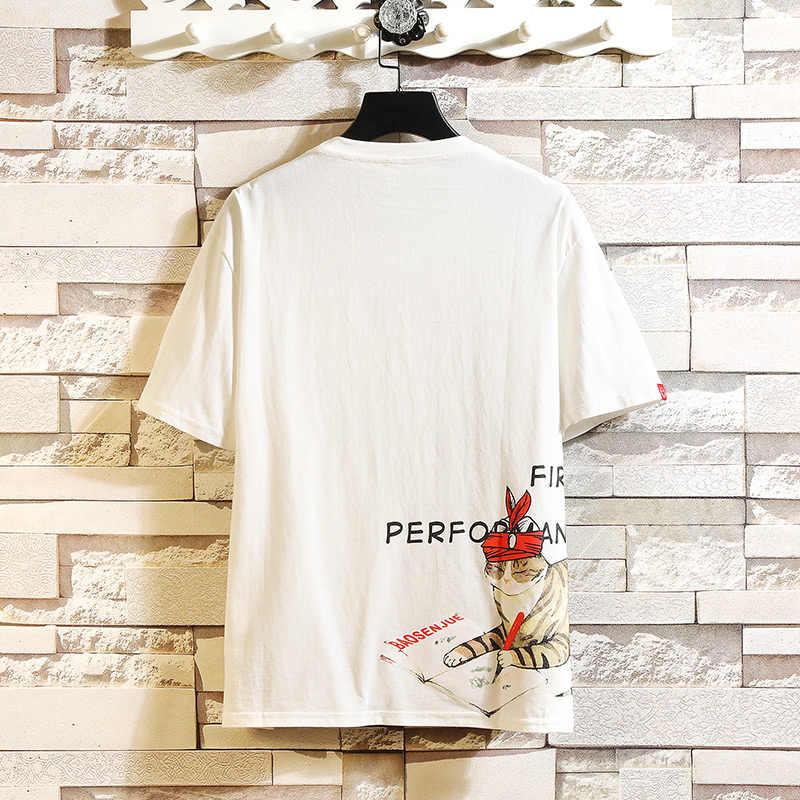 BQODQO 2019 футболки для мужчин модные футболки белая терморубашка мужская повседневная японская летняя короткий рукав негабаритный Хлопок Забавный стильный