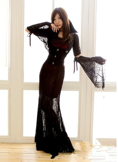 Vintage Victorian Corset Black Gothic Prom Dresses With Lace Long
