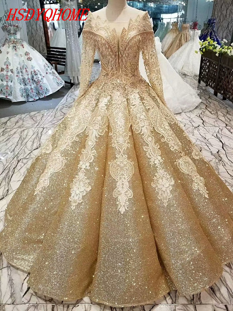 HSDYQHOME Amazing Ball Gown Gold Sequines   Evening     dresses   2018 Luxury Gold Prom   Dresses   Beading Vestidos Appliques   Evening   gown