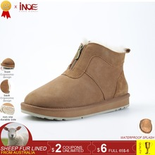 INOE new genuine suede sheepskin leather natural wool fur lined men winter snow boots with zipper short ankle winter shoes brown