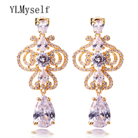 Gorgeous big earrings for wedding party Spectacular trendy jewellery orecchini White and Gold color Beautiful women jewelry