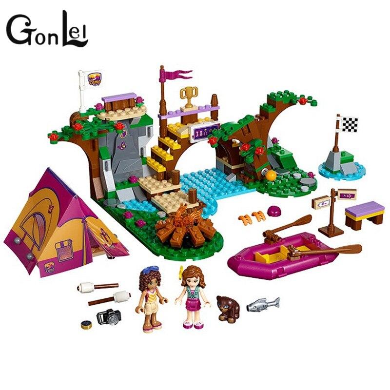 GonLeI BELA 10493 325pcs Adventure Camp Rafting Building Blocks Set Model Compatible Brick Girl Toys 41121