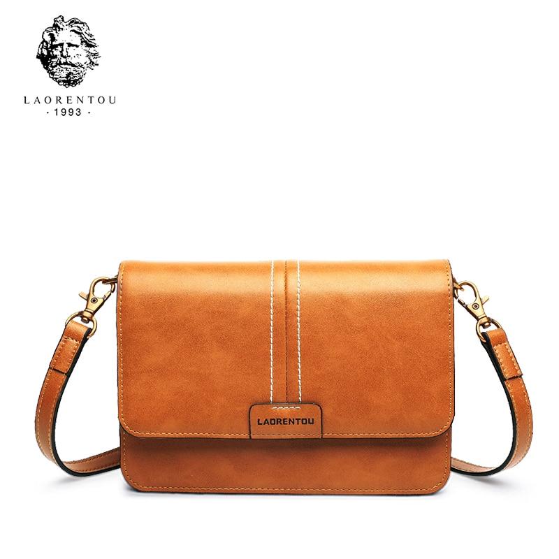 LAORENTOU Women Shoulder Bag Split Leather Crossbody Bag for Female Ladies Luxury Vintage Messenger Bag Valentine
