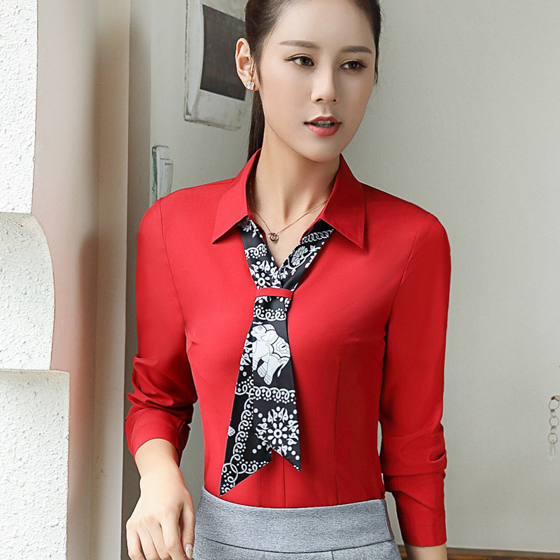 2018 Winter Long Sleeved Bow Tie Chiffon Shirt Office Lady Blouse Feminine Plus Size S-4XL off white shirts Red Women Tops Shirt
