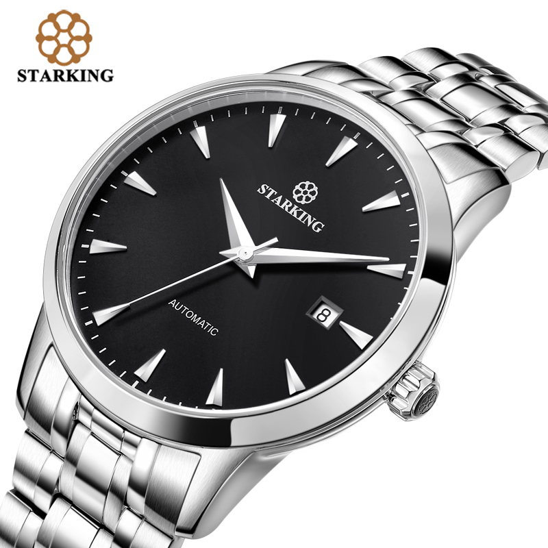 STARKING Original Brand Watch Men Automatic Self-wind Stainless Steel 5atm Waterproof Business Men Wrist Watch Timepieces AM0184 seagull pvd with stainless steel self wind 3 hands exhibition back automatic men s business watch m149sk