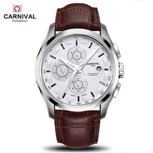 Image 5 - Relogio Masculinoใหม่Carnivalอัตโนมัตินาฬิกาผู้ชายผู้ชายนาฬิกาหนังกันน้ำ 8659Gนาฬิกาข้อมือSapphire