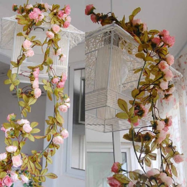 Hanging Garland Artificial Flowers For Wedding Home Decoration Silk Flower  European Fall Rose Fake Leaf Plants
